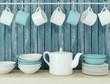 Ceramic kitchenware on the shelf. - 68527684