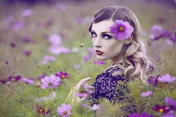 beautiful woman in flower field