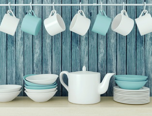 Ceramic kitchenware on the shelf.