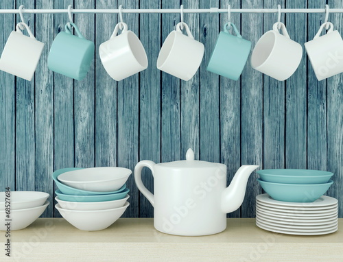 Ceramic kitchenware on the shelf. - 68527684