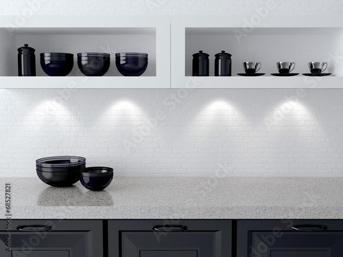 Tuinposter Koken White and black kitchen design.