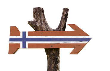 Norway wooden sign isolated on white background