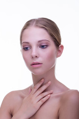 Skin care and cosmetics. Beauty portrait of young pretty woman.