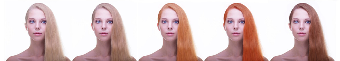 Portrait. Hair coloring. Perfect long straight hairstyle.