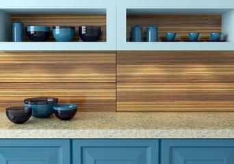 Blue kitchen design.