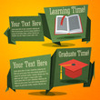 Set of cute back to school banners with text book and graduation