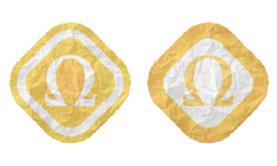 two frames with texture crumpled paper and omega symbol