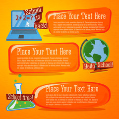Set of cute back to school banners with computer, globe and