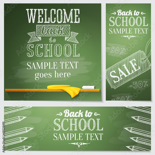 Set of school banners - different web site templates with sample