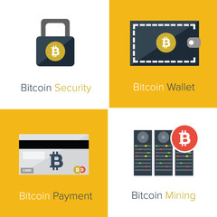 Bitcoin flat icons template
