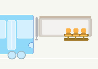 Illustration of a bus stop on a road