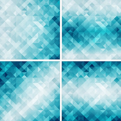 set of retro style geometric pattern,aqua color