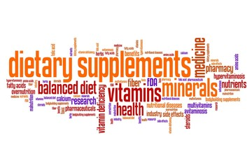 Diet supplements - word cloud concept