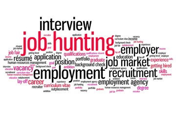 Job hunting - word cloud concept