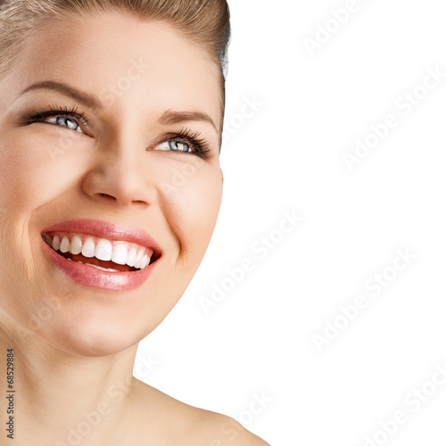 canvas print picture Portrait of pretty smiling woman with perfect white teeth.