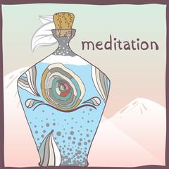 Meditation. Vector illustration