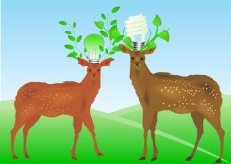 Deers in eco concept image