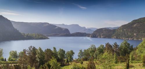 View over Norwegian Revsvatnet glacier lake