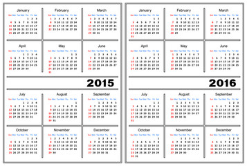 Calendar template. 2015, 2016