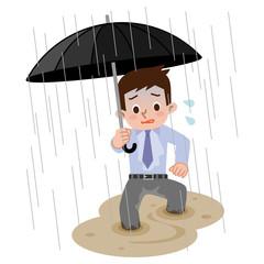 大雨で帰宅困難な男性