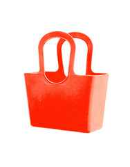 Red plastic bag isolated on white