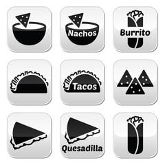 Mexican food buttons - tacos, nachos, burrito, quesadilla