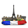 canvas print picture - Paris landmarks, French baguette sandwich, funny collage