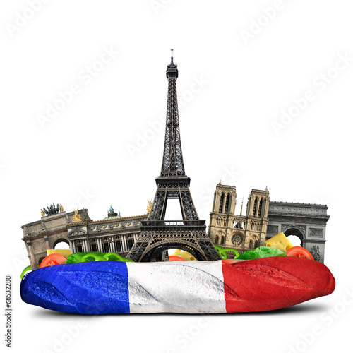 canvas print picture Paris landmarks, French baguette sandwich, funny collage
