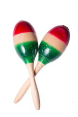 maracas with Mexico flag isolated