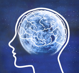 Human profile and brain with moon in a blue night
