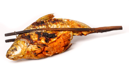 Grill carp in isolated on  white background