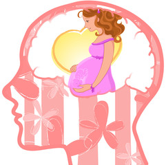 Human profile and brain with pregnant woman