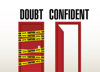 doubt and confident doors illustration
