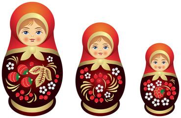 Matryoshka doll family Khokhloma style