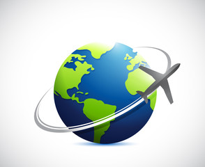 globe and airplane route illustration design