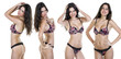 Collage, Sexy brunette woman posing in lingerie
