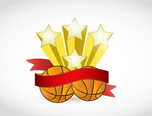 basket ball stars and ribbon illustration design