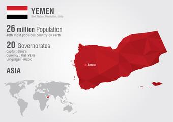 Yemen world map with a pixel diamond texture.