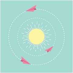 Origami paper plane and sun. Dash line circle. Flat design.