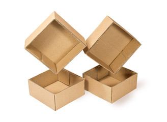Four cardboard boxes