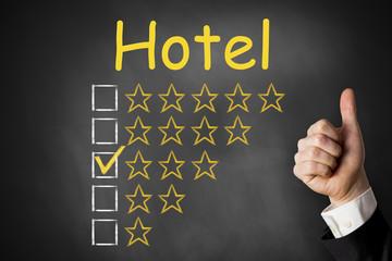 hotel thumbs up rating three stars