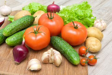 fresh vegetables closeup on wooden background