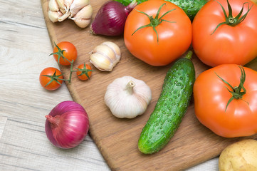 vegetables closeup on wooden background