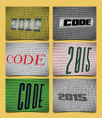 Set of 6 Cards for the Year of the 2015, on the theme of Coding