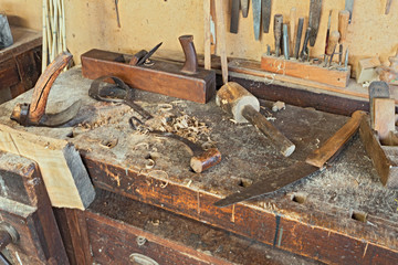 old bench with carpenter's equipment