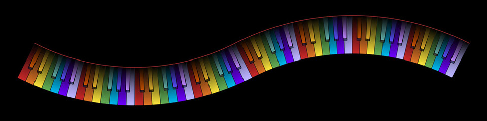 Curved Piano Keyboard Colors