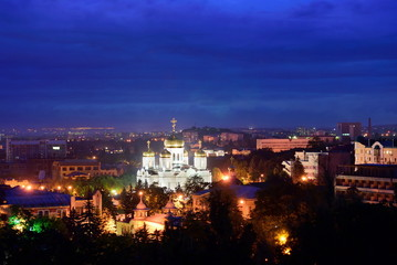 Russia. Pyatigorsk. View of the evening city and Savior Cathedra