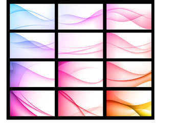 Abstract waves business cards