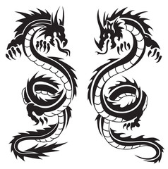 Dragons tattoo vectors
