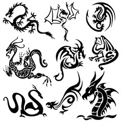 Tattoo dragons isolated vector